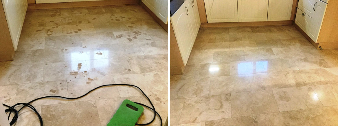 Pitted Travertine Floor Tiles Filled and Polished in Rushden