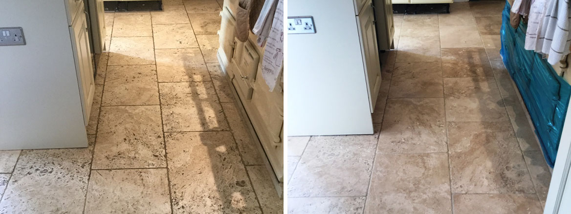 Pitted Tumbled Travertine Before and After Cleaning Braybrooke