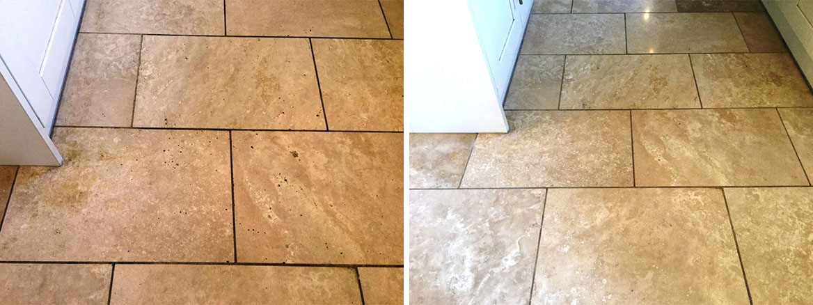 Polished Travertine Kitchen Floor Before and After Polishing Abthorpe Towcester