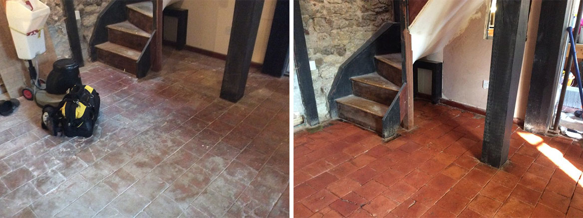 Quarry Tiles Before and After Sealing Ringstead