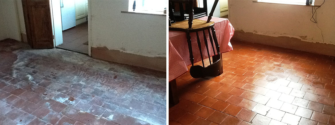 Red Quarry Tiles Higham Ferrers Northants Before and After