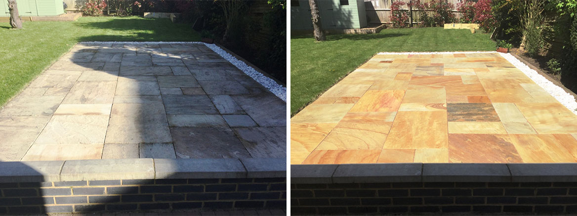 Sandstone Patio Before and After Cleaned Re grouted and Sealed Kettering