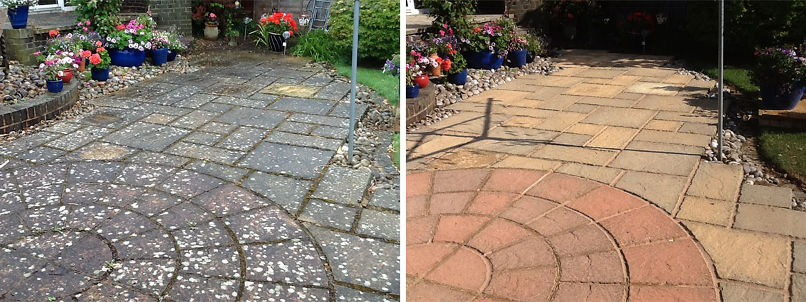 Sandstone Patio Slabs Before and After Cleaning Rushden