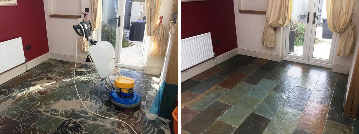 Slate Floor Before and After Cleaning and Sealing in Little Harrowden Wellingborough