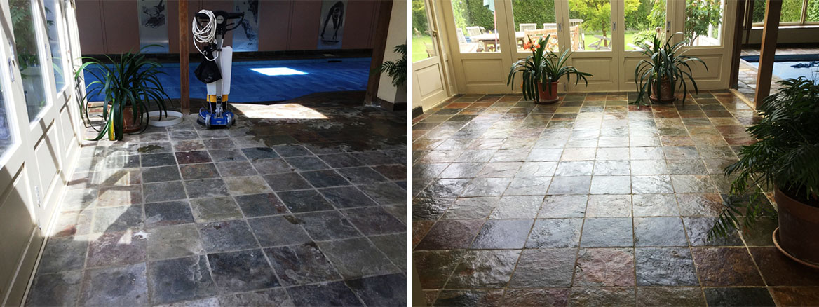 Bleach-Damaged Slate Poolhouse Tiles Restored in Oundle