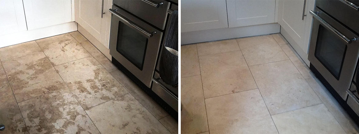 Stained Travertine Kitchen Oundle Before and After Cleaning