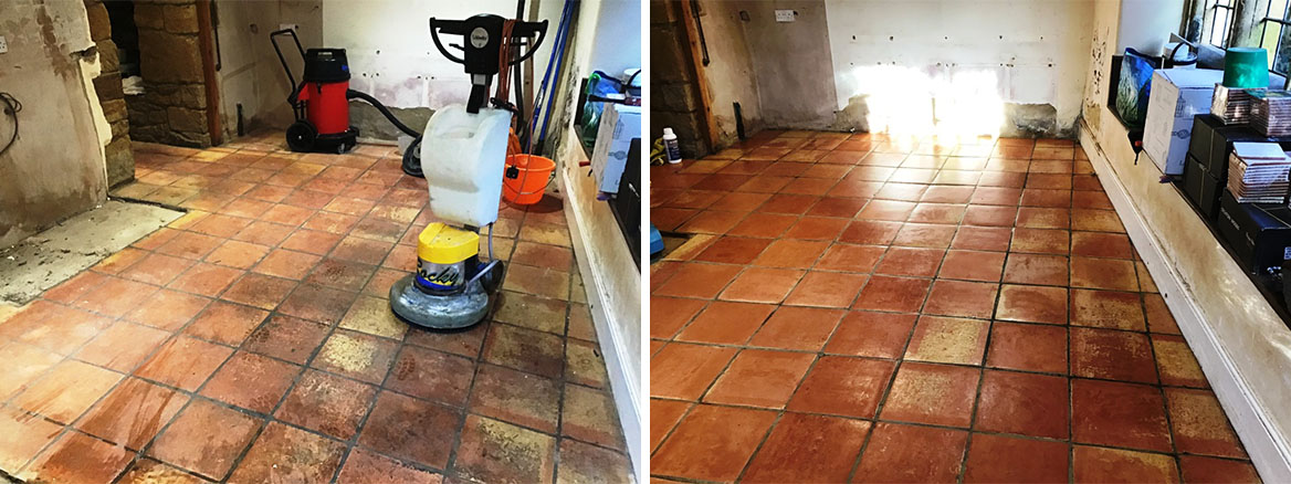 Terracotta Tiled Floor Before and After Restoration Flore Village