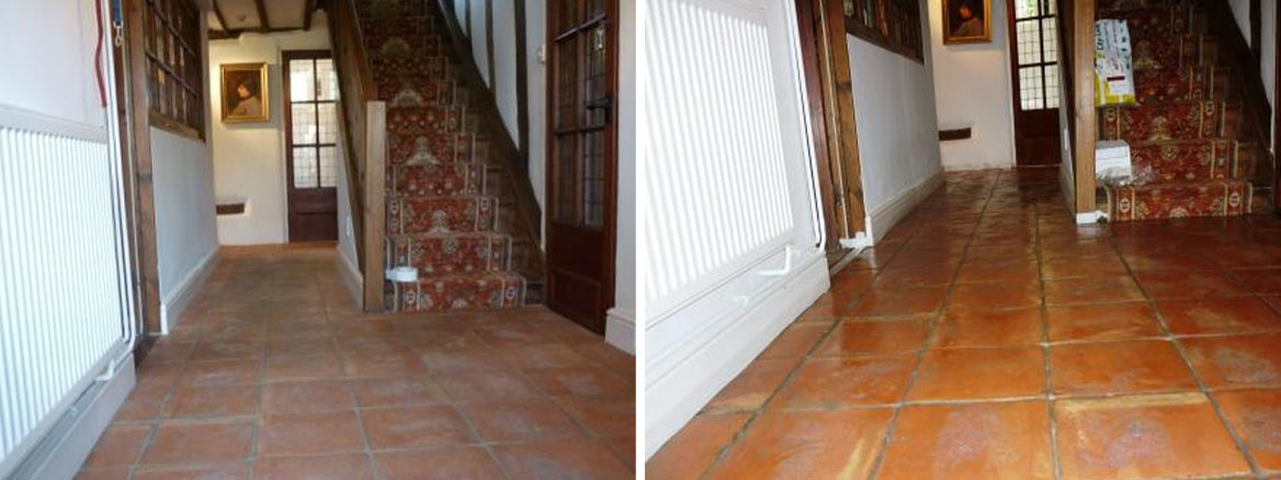 Terracotta Tiled Floor Before and After