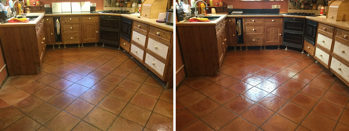 Terracotta Tiled Kitchen Floor Before and After Sealing Maidford