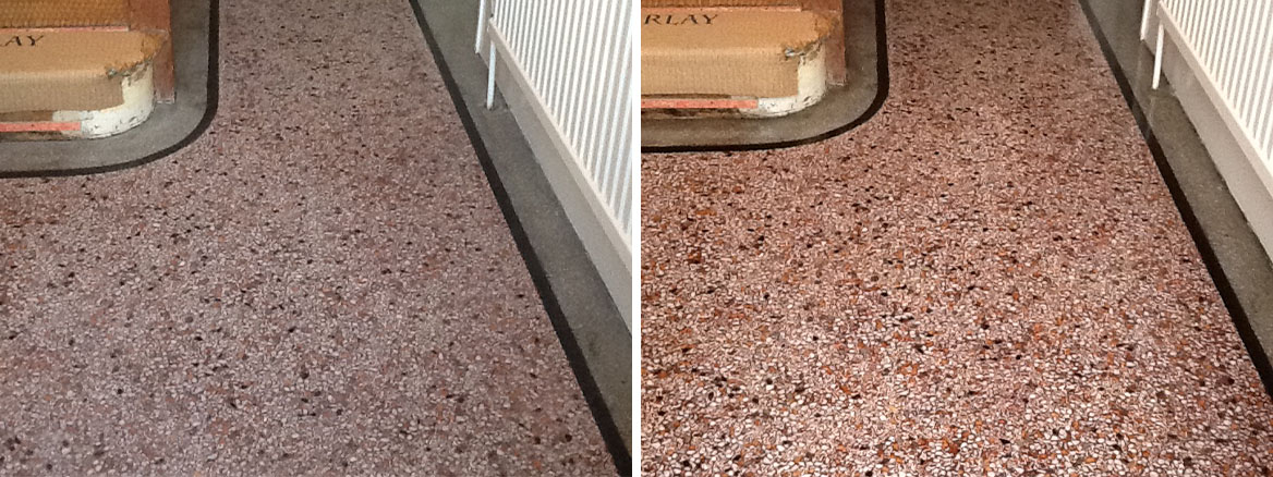 Terrazzo Hallway Northampton Before and After Cleaning