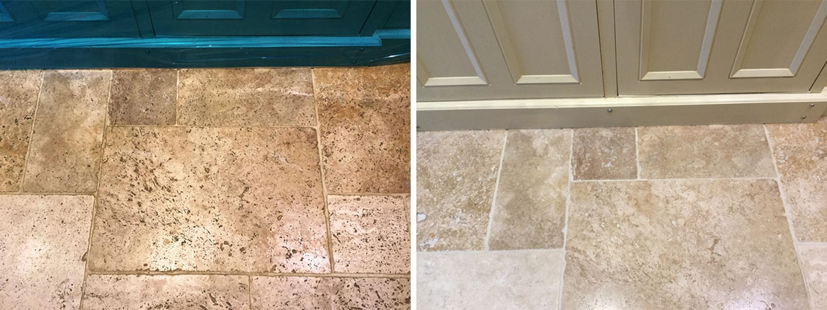 Travertine Kitchen Tiles Before and After Cleaning Helmdon Close Up