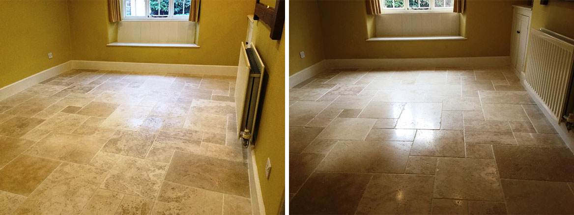 Travertine Tile Before and After Burnishing Steverton
