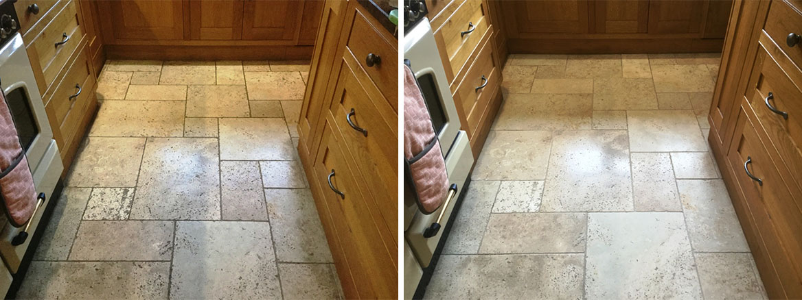 Tumbled Travertine Kitchen floor before after Cleaning in Lower Boddington