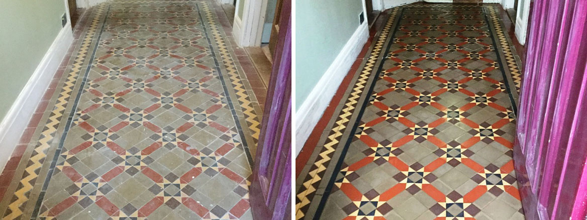 Victorian Tiled Floor Before and After Cleaning Finedon