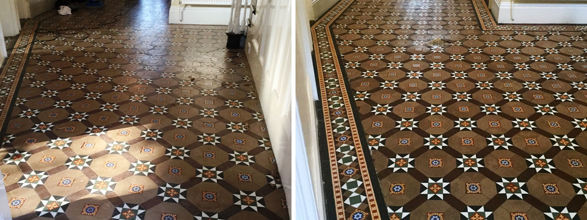 Victorian Tiled Floor Before and After Cleaning West Haddon