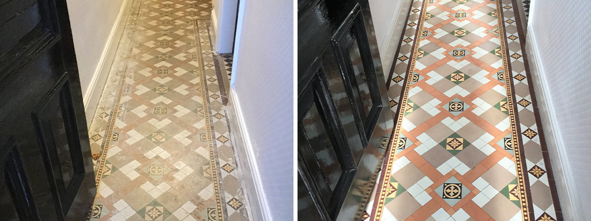 Victorian Tiled Hallway Before and After Cleaning Kettering