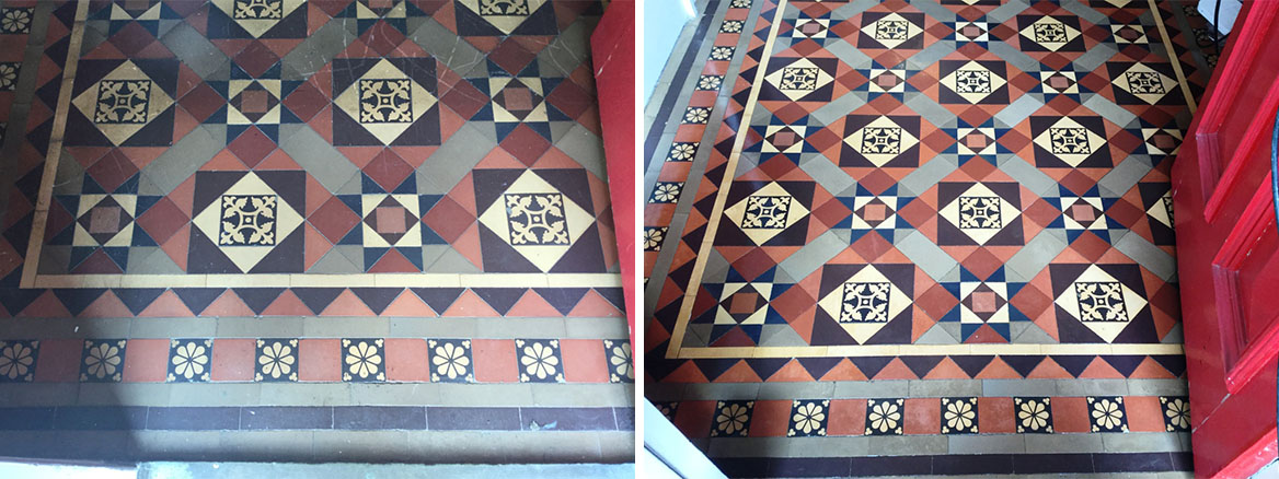 Victorian Tiled Hallway Floor Before and After Cleaning Rushden