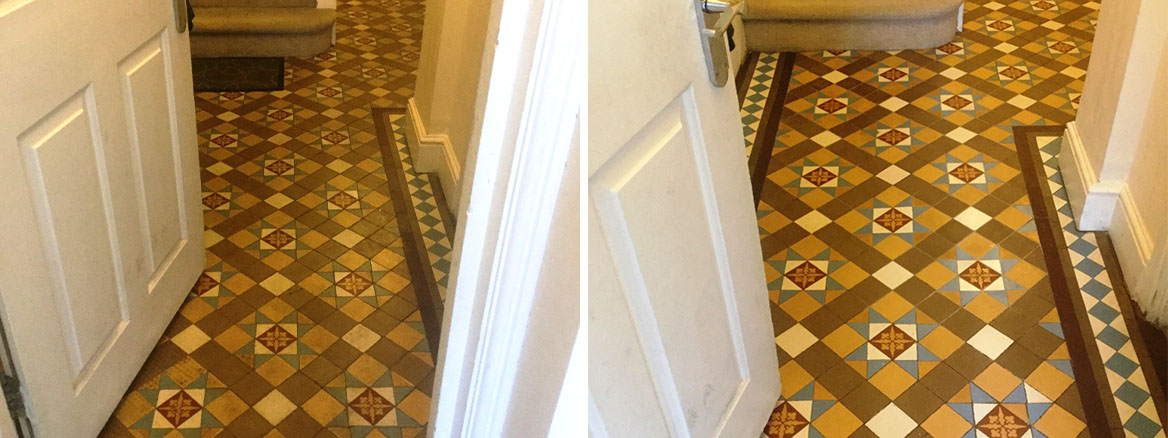 Victorian Tiled Hallway Floor Northampton Before and After Repair and Cleaning