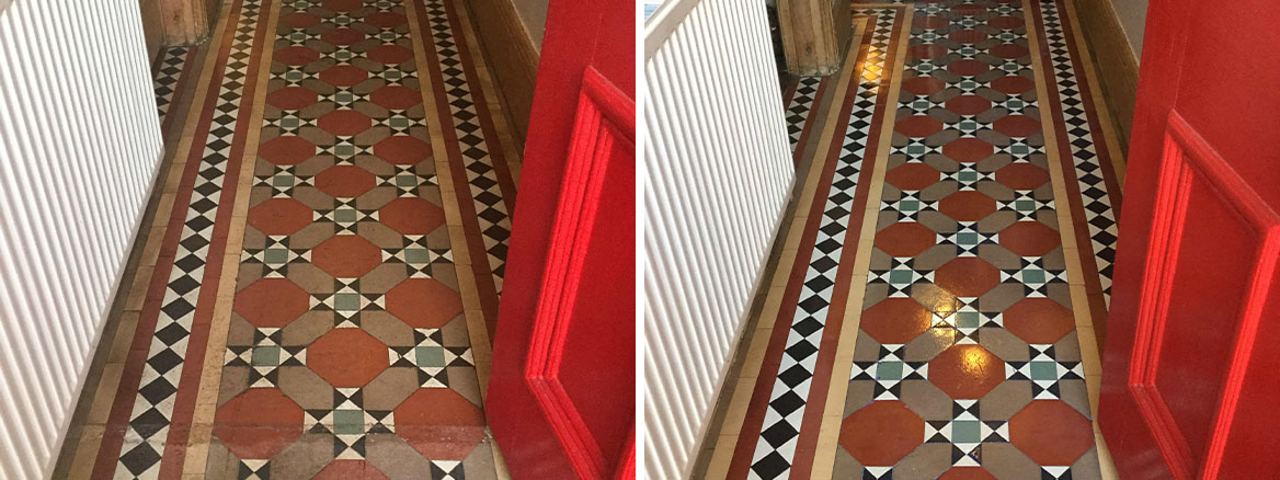 Victorian Tiled Hallway Floor Wellingborough Before and After Restoration