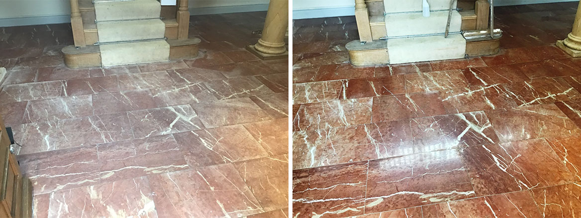 Water Stained Marble Floor Before and After Renovation Earls Barton