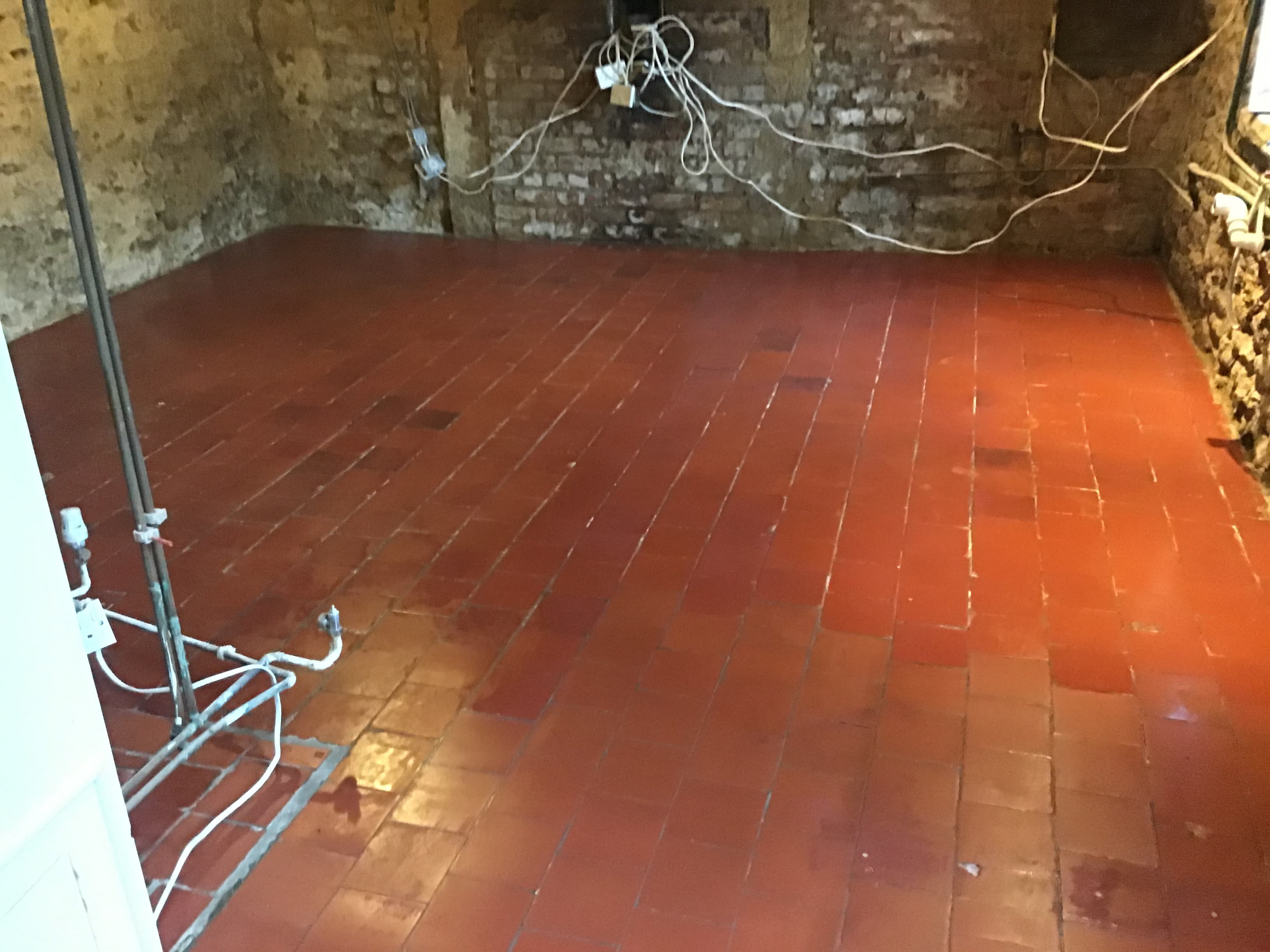Victorian Quarry Tiled Floor After Restoration Broughto Cottage