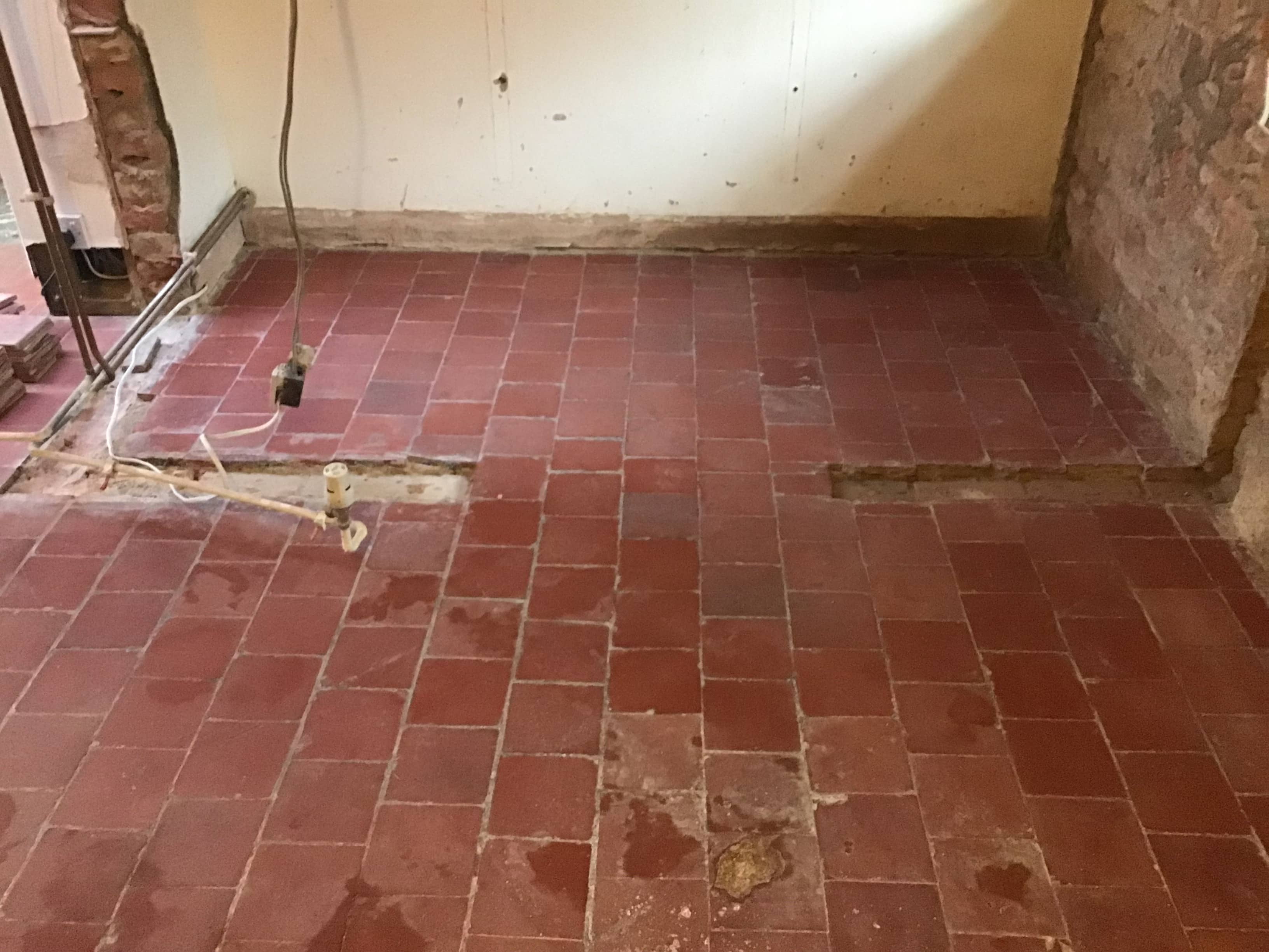 Victorian Quarry Tiled Floor Before Restoration Broughto Cottage
