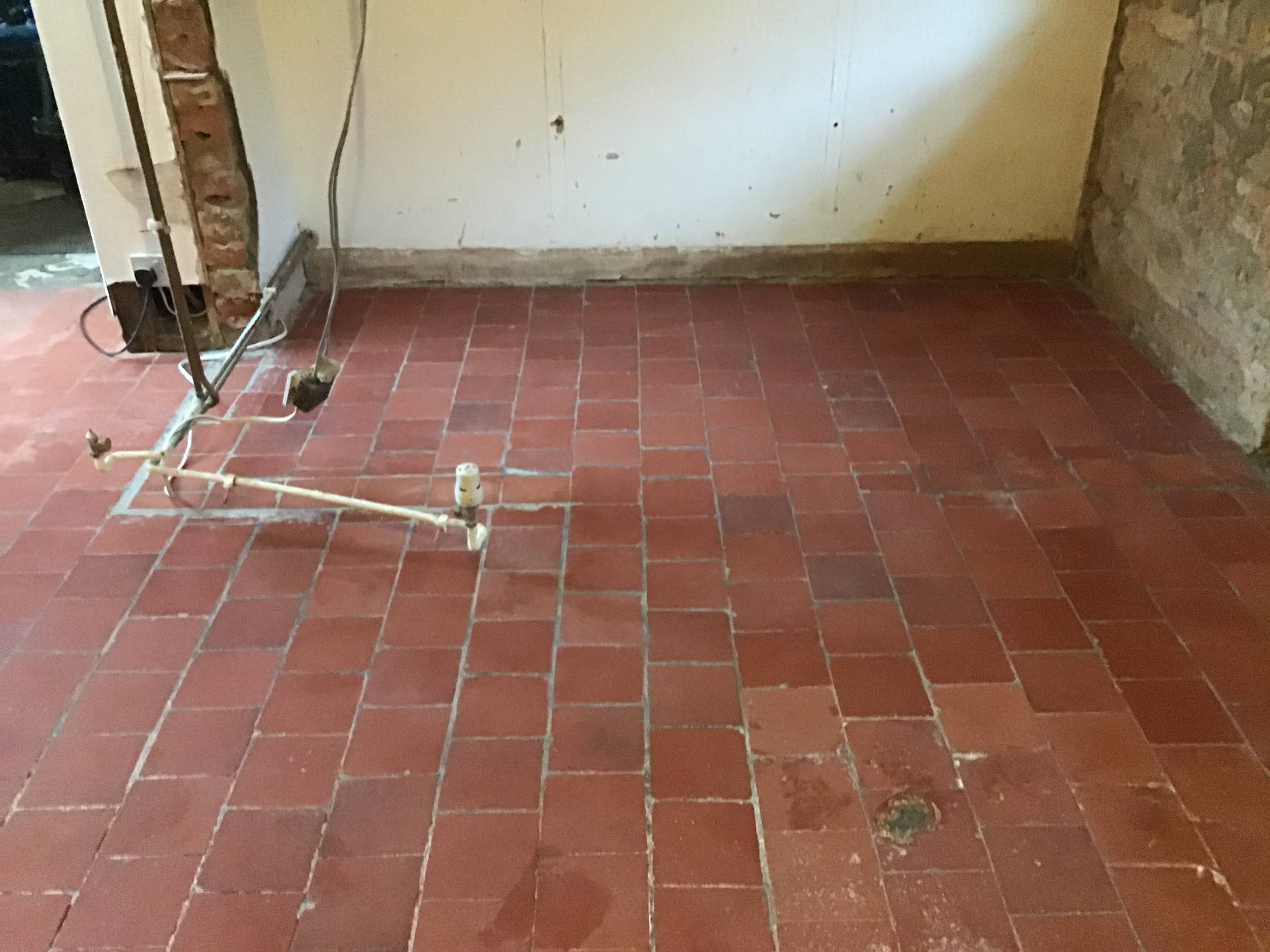 Victorian Quarry Tiled Floor During Restoration Broughto Cottage
