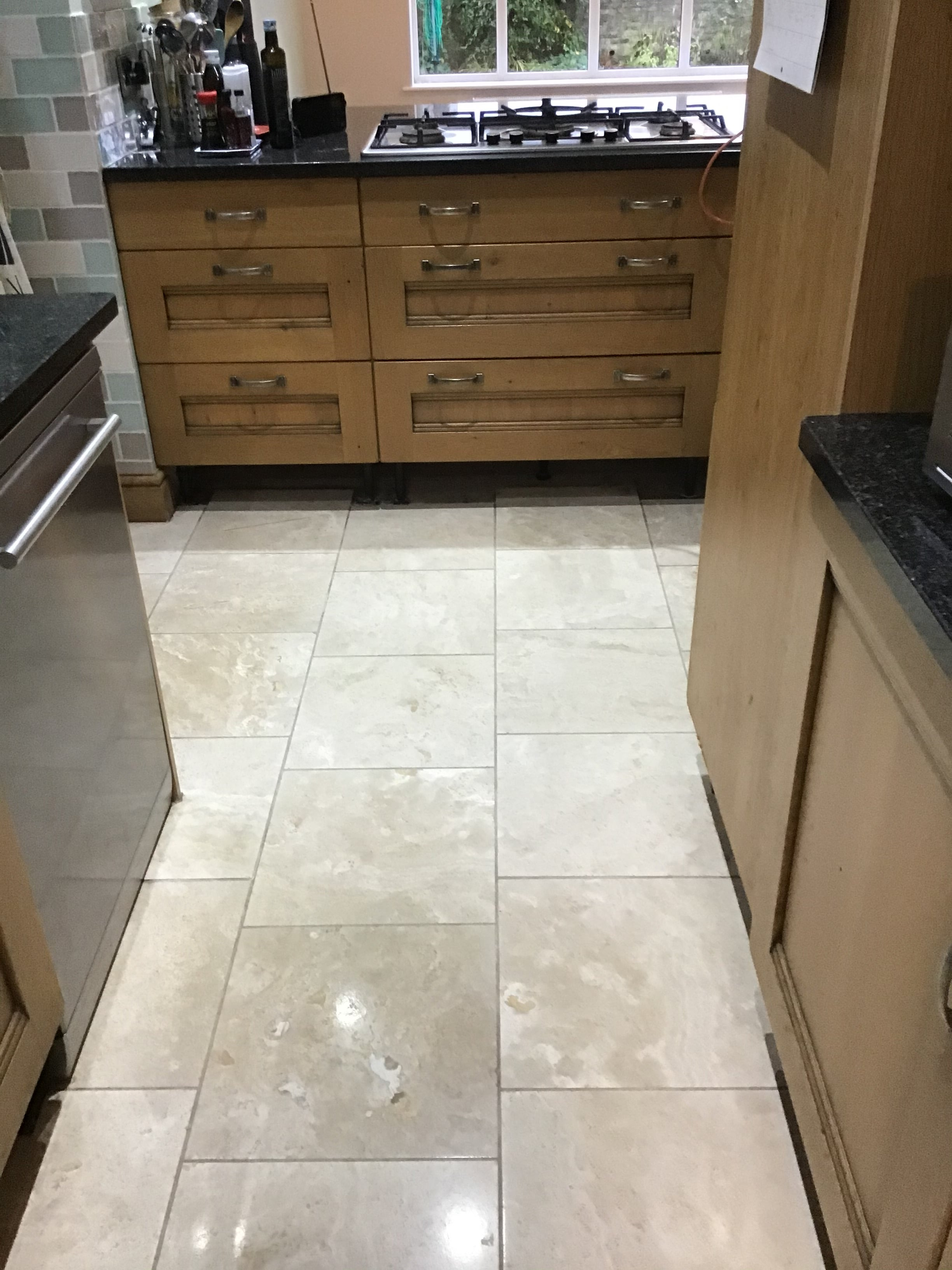 Polished Travertine Kitchen Floor After Renovation Brixworth