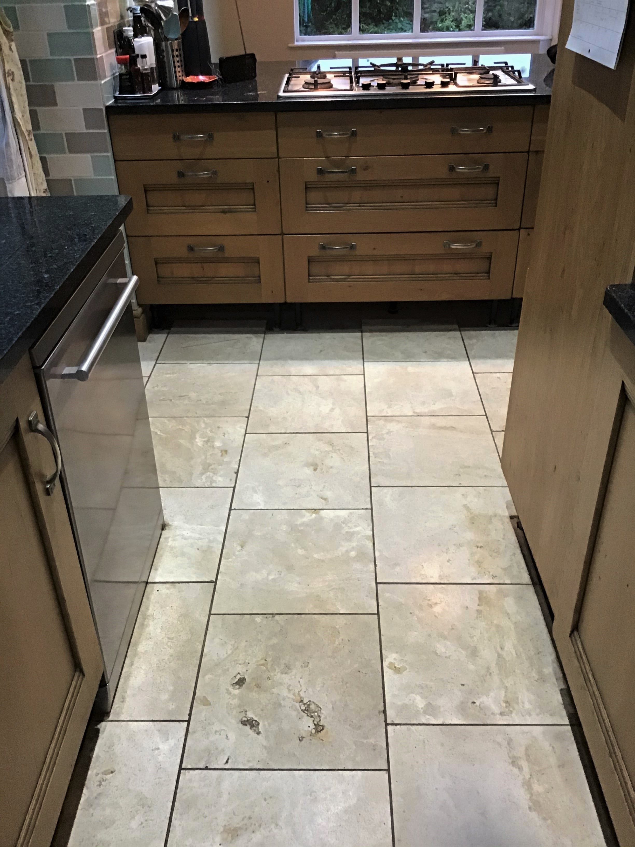 Polished Travertine Kitchen Floor Before Renovation Brixworth