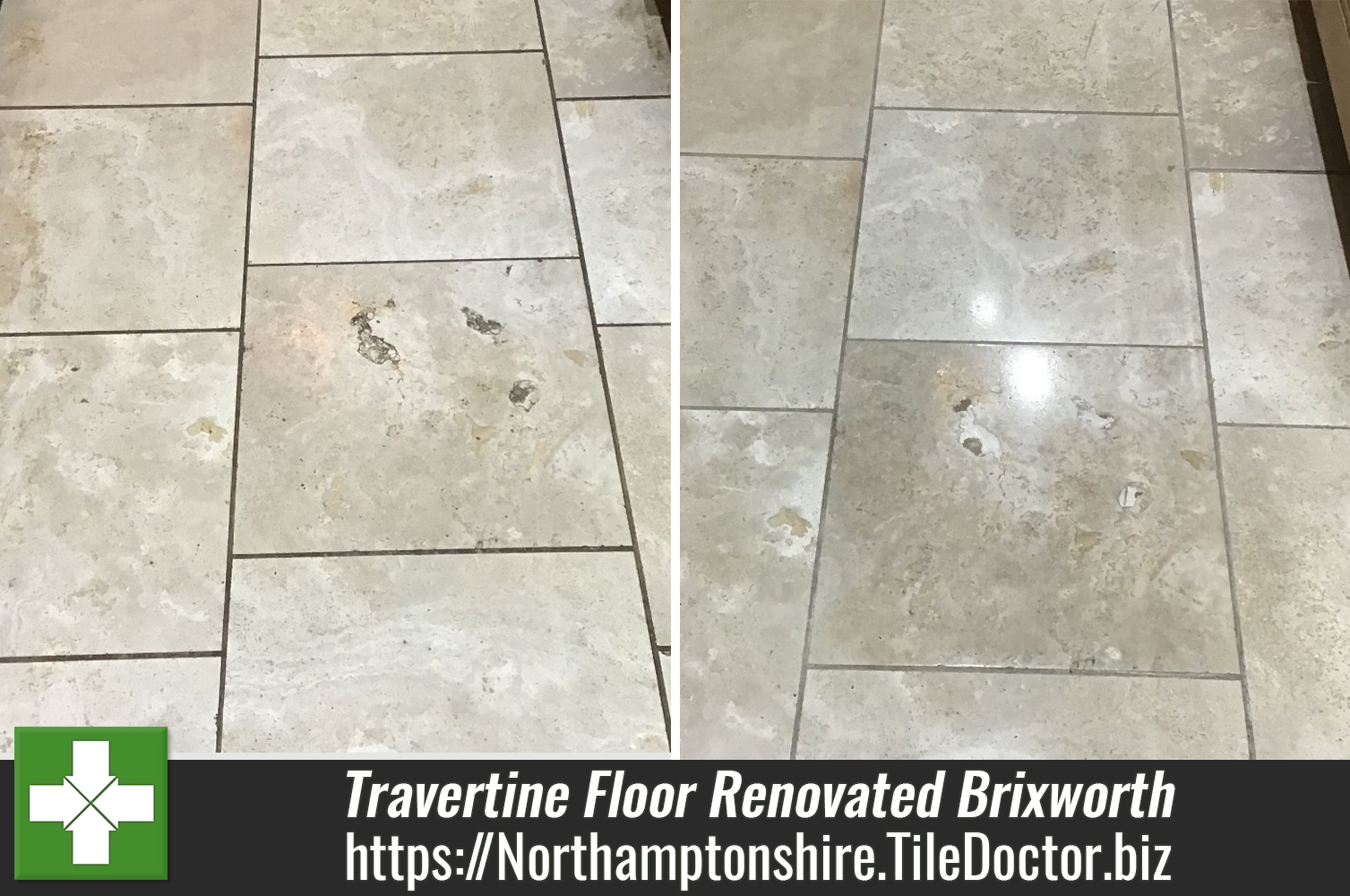 Travertine Floor Tiles Repaired and Polished in Old Near Brixworth