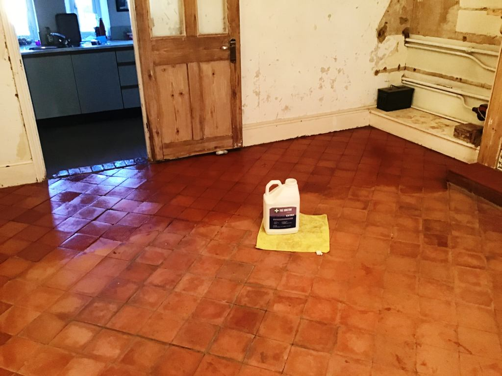 Quarry Tile Floor After Restoration Bozeat Cottage