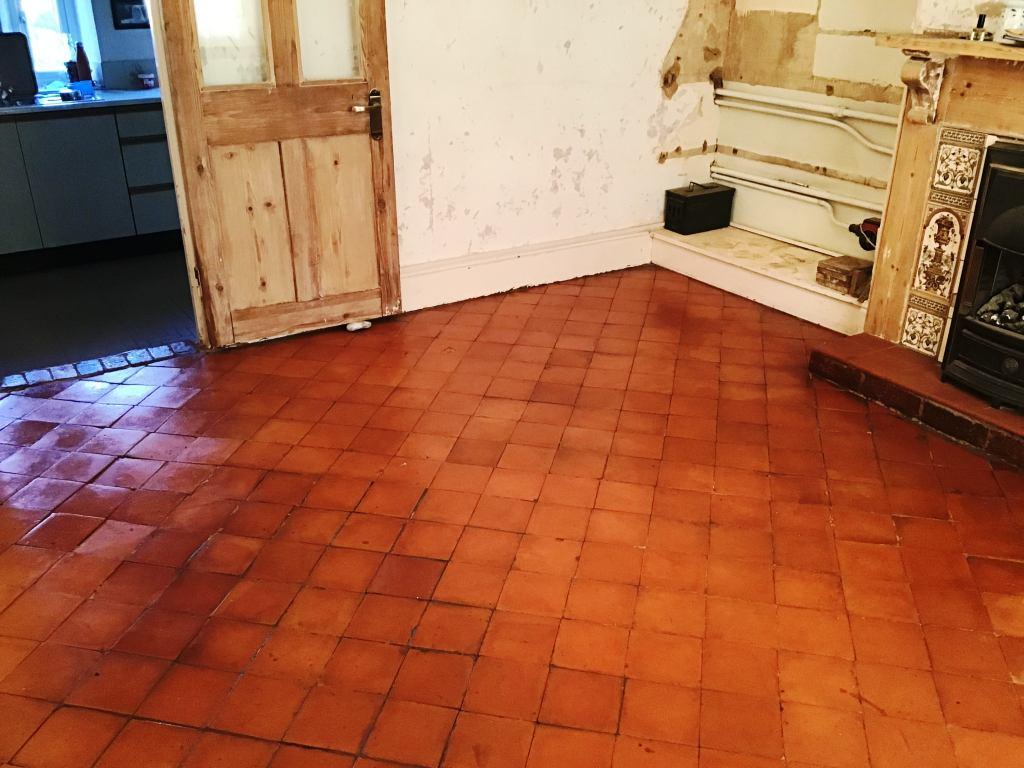 Quarry Tile Floor After Restoration Bozeat Cottage