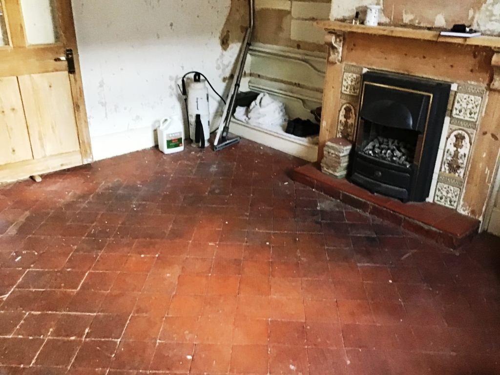 Quarry Tile Floor Before Restoration Bozeat Cottage