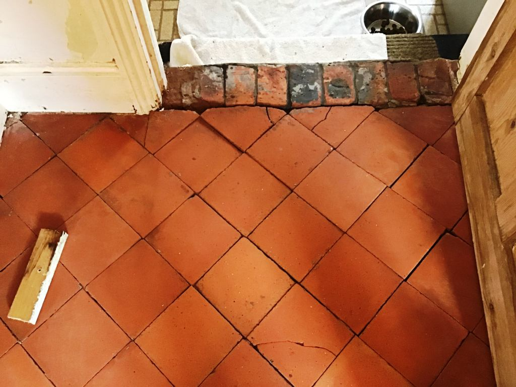 Quarry Tile Floor During Repair Bozeat Cottage