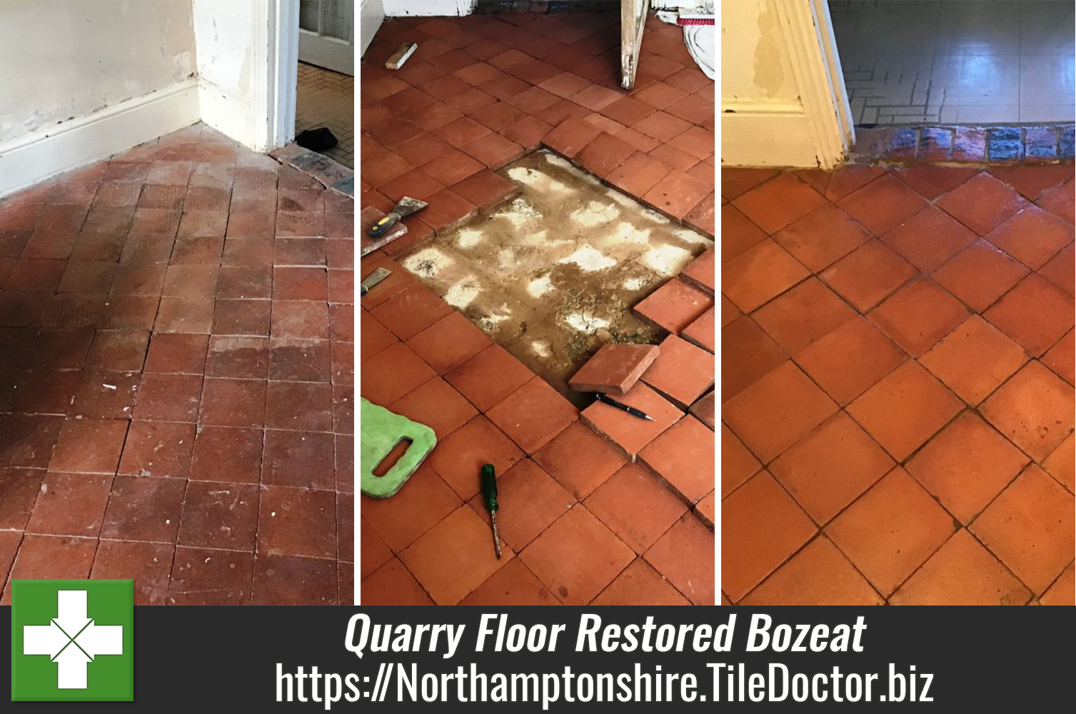 Quarry Tile Repairs and Restoration at a period cottage Bozeat